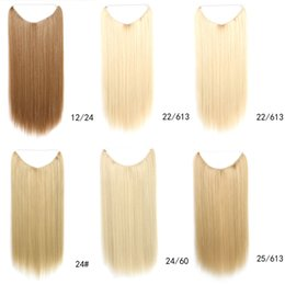 Wholesale Color Hair For Brown Skin - Wholesale-Fashion beauty for women's golden Malaysian natural straight fishing line hair extension clip weft hot sale in America