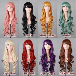 Wholesale long blonde wigs for cheap - Multicolor Cheap Women Synthetic Hair Wig Fashion Anime Heat Resistant Hair 80cm Long Wavy Cosplay Wigs for Halloween Party Nightchlub