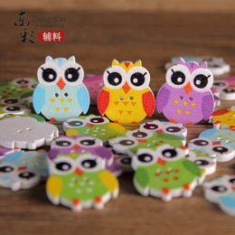 Wholesale Korean Style Owl Clothes - DIY Wooden Cartoon Button DIY Wooden OWL Button Clothing Cushion DIY Cute OWL Wooden Button Creative Button
