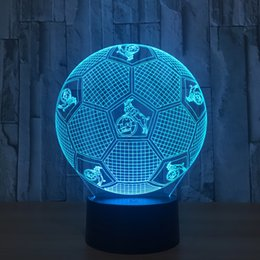 Wholesale Football Angels - Koln Soccer Football Style 3D Optical Illusion Lamp Night Light 7 RGB Lights DC 5V USB Charging AA Battery Dropshipping Free Shipping