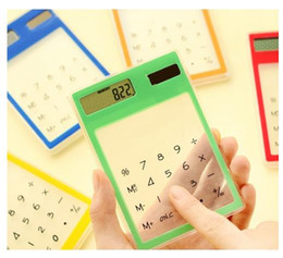 Wholesale Transparent Touch Lcd - Ultra Slim Mini Transparent Solar Powered Calculator LCD Touch Screen 8 Digit LKS