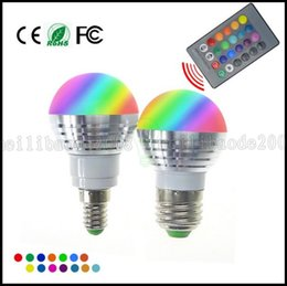 Wholesale 5w Bulb Rgb E14 - LED RGB Bulb Lamp E27 E14 AC85-265V 5W LED RGB Spot Blubs Light Magic Holiday RGB lighting+IR Remote Control 16 Colors LLWA061