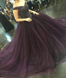 Wholesale Puffy Dresses For Women - Plus Size Sparkly Sequin Beaded Formal Pageant Dress For Women Dark Purple Ball Gown Tulle Puffy Prom Dresses Custom Evening Gowns