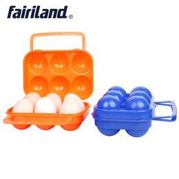 Wholesale Home Storage Containers - 2pcs Lot 6 Eggs Container Holder Storage Boxes folding plastic egg case for camping hiking Home Kitchen Gadgets Accessories Red Orange Blue