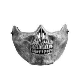 Wholesale Wholesale Biker Gear - Wholesale-Skull Skeleton Airsoft Game Hunting Biker Half Face Protect Gear Mask Guard Halloween Masquerade Party Hot Selling