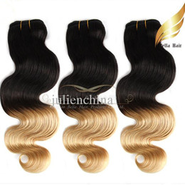 Wholesale Brazilian Wavy Hair 1b - Brazilian Ombre Hair Human Hair Extension Body Wave Wavy Hair Weaves Dip DyeT#1B #27 Color Ombre Human Hair Free Shipping Bella Hair