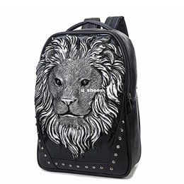 Wholesale Large Party Bags Free Shipping - New Arrival Wholesale New Creative 3D Backpack Men's Fashion Casual Large Capacity Of Lion Travel Bag Computer Bag Free Shipping