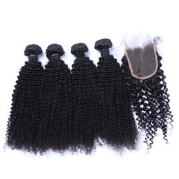 Wholesale Mongolian Kinky Curl Weave - Brazilian Kinky Curl Human Hair Weaves Extensions 4Bundles with Closure Free Middle 3 Part Double Weft Dyeable Bleachable 100g pc Hair Wefts