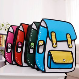 Wholesale Style 2d - Women 3D Jump Style Comic Backpacks Creative Backpack Cartoons Outdoor Travel Bags for Woman 2D Drawing Schoolbags