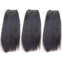 "Wholesale Light Yaki Human Hair - 3pcs lot Light Yaki Brazilian Remy Hair Straight Weave Bundles 10"" Yaki Straight Human Hair Extensions Post Mail Free Shipping"