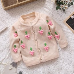 Wholesale Kids Floral Cardigan - Kids Girls Knit Sweater Baby Girl Grape Sweater Autumn Winter Princess Cardigan Sweater 4 p l