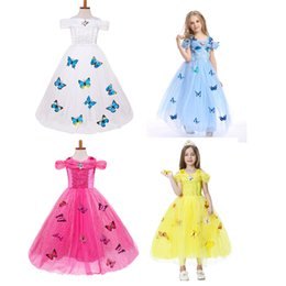 Wholesale Summer Butterfly Sleeve Dresses - Baby Girls butterfly lace Dress Christmas Tutu princess Dresses Kids snowflake diamond Party Dress C2787