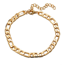 Wholesale Wholesale Women Cuban Link Chain - New Hot Arrival Classical Foot Chain Jewelry For Women Men Gold Color 30cm 7mm Width Cuban Link Chain Anklet Bracelet