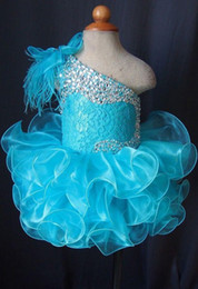 Wholesale Beaded Black White Pageant Feather - Toddler Pageant Dresses Blue One Shoulder Lace Up Cupcakes Girl Pageant Gowns Crystal Beaded Lace Organza Ruffles Little Kids Prom Dress