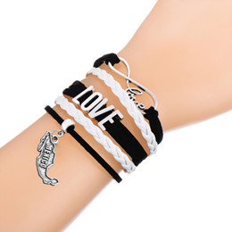 Wholesale spain leather - Multi-layer Braided Bracelets Connect With Letter Mexico & Spain Map Charm White & Pink Leathert Adjustable Bracelet Best Gift For Men&Women
