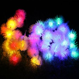 Wholesale Waterproof Outdoor Rope Lights - Wholesale- Battery Powered 8 Mode 6M 30LED Fuzzy Ball Globe Shaped LED String Lights Waterproof Holiday Fairy Outdoor Rope Lights + Remote