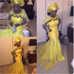 Wholesale Prom Dress Bright - Aso Ebi Bright Yellow Prom Dresses mermaid Plus Size South Afric Lace Evening Gowns 2016 Long Sleeves Sheer Beaded PARTY Gowns