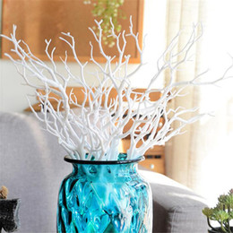 Wholesale Branches For Wedding Decorations - 10pcs Artificial Tree Branch Wood White Plastic Small Tree Dried Branches Plant For Wedding Party Home Hotel Venue Decoration
