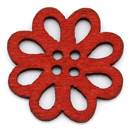Wholesale wholesale buttons bulk - 50PCS Red Flower Wood Buttons Sewing Scrapbooking Hollow Buttons 4 Holes 21x20mm DIY Handmade Craft In Bulk Buttons I239L