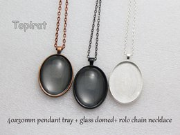 Wholesale Oval Cabochon Settings - 10 kit 30x40mm Oval Pendant Trays, Oval Cabochon Setting Pendant Blank + Rolo Chain Necklace + Glass Cabochon