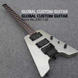 Wholesale White Guitar Black Hardware - New Headless Electric Guitar Double roll electric guitar Finish the silver pink stain Black Hardware Real photo show Wholesale