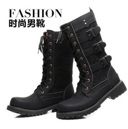 Wholesale mens high heel motorcycle boots - England trend Mens Outdoor Military Combat High Top Lace Buckle Knee High Hiking Boots Shoes