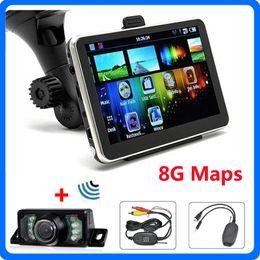 Wholesale Wireless Rear View Cameras - 5 inch Car GPS Navigator Bluetooth AV-IN Wireless Rear View Camera System With 8GB 3D IGO Primo TTS Maps