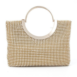 Wholesale Clutches For Wedding - 2016 Soft Silver Gold Handle Messenger Bags For Wedding Party Evening Bags Small Purse Full Rhinestones Bridal Handbag 8034