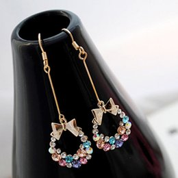 Wholesale Bowknot Colorful Earrings - Korean Style Gold Plated Colorful Crystal Rhinestone Bow Bowknot Dangle Earring Chandelier Earrings Ear Stud Ring Earing Fashion Jewelry