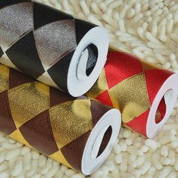 Wholesale Red Gold Wallpaper - Coffee black red gold and silver diamond lattice gold reflective KTV bar salon background WH wallpaper roll