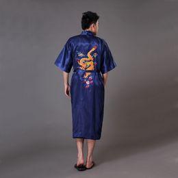 Wholesale Dragon Kimono Robe Men - Wholesale-Summer Navy Blue Men Satin Kimono Bath Robe Gown Chinese Handmade Embroidery Dragon Sleepwear Pajamas S M L XL XXL XXXL MR022