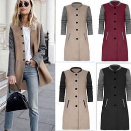 Wholesale Wide Breasted Woman - 2017 Women Wool Blends Winter Autumn Jacket Long Women Coat Slim Suit Collar Long Style Soild Woolen Coat Female Jacket