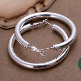 Wholesale New Gold Finds - Wholesale- 925 stering silver jewelry silver hoop earring hot sale fashion women finding new 5mm empty tube round hoop earing CE149