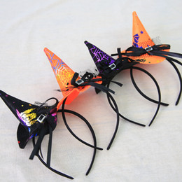 Wholesale Plastic Witch - XS Halloween Decorations Show Props Saints Buckle Witch Hat Children Spider Headband Hair Hoop Wholesale