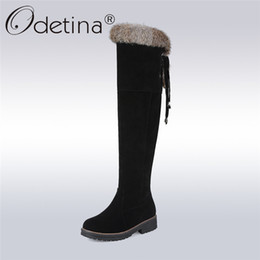 Wholesale Warm Long Shoes For Woman - 2017 New Faux Suede Fur Over The Knee Long Winter Snow Boots For Women Thigh High Winter Warm Shoes Boots Big Size 34-44