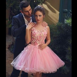 Wholesale Engagement Short Dress - Sweet Pink Floral Short Prom Dresses Tulle Knee Length Cut Out Back Ball Gown Engagement Dresses Said Mhamad Evening Party Dresses