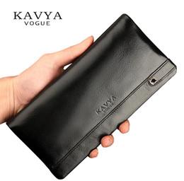 Wholesale Drop Purse Organizer - Wholesale- KAVYA 2017 Genuine Leather Wallet Men Fashion New Designer Gift for man Calfskin Purse Long Section Bags Clutch Wallet Drop Ship