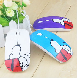 Wholesale Mouse Pad Cartoons - Factory Supply Fashion Wired Designer USB Mouse Cartoon Snoopy Mice With Gift Pad For Computer PC Laptop Desktop