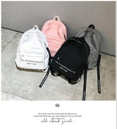Wholesale Korean Kids White Backpacks - Nylon shoulder bag wholesale 2017 early summer new Korean version of the wind backpack personality wild students package