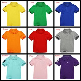 Wholesale Boys V Neck T Shirts - 7-14Years big children summer T-shirt pure solid color boys summer brand polo shirts girls crocodile embroidery shirt top for student