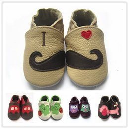 Wholesale Printing Items - New item Infant Soft Sole Leather Shoes Baby prewalker cute animal pattern Leather moccasin interesting First Walker Shoes 60styles 4size