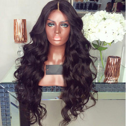 Wholesale Wig Long Black - 8A Full Lace Human Hair Wigs For Black Women Brazilian Full Lace Wigs Silk Top Wavy Glueless Lace Front Human Hair Wigs