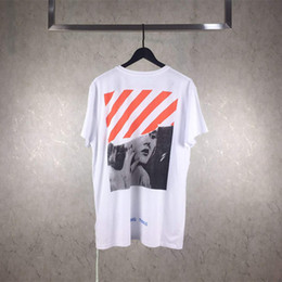 Wholesale Marilyn Print - OFF WHITE 17FW T-Shirt Polos Cotton Marilyn Monroe Men's T Shirts Fashion Casual Hiphop Short Sleeves Best Quality Men's Tees Free Shipping