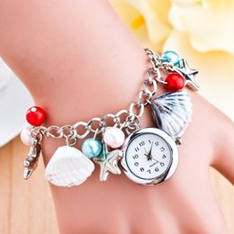 Wholesale Plastic Round Beads Mm - Tourism products selling starfish shell beach wind glass bead bracelet watch students miss quartz watch