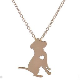 Wholesale Cute Cartoon Heart - New Fashion Short Necklace Cute Pit Bull Necklace With Heart Cartoon Dog Sitting On Ground Pendant Necklace for Women Party Gifts On Sale