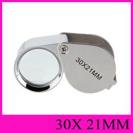 Wholesale Eyes Glass Cleaner - 30X Loupes Jewelry Loupe 30X21mm Magnifying Glass Magnifier Mini Triplet Eye Glass Jeweller Magnifier Jewel Microscope Folding Diamond Loupe