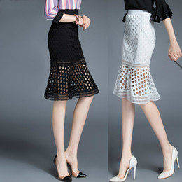 Wholesale Casual Skirt Designs For Women - 2016 Summer Fashion Design Black White Lace Skirt Slim Mesh Hollow Fit Tulle Skirts High Waist Bodycon Midi Skirts for Women