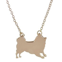 Wholesale Pomeranian Dogs - 2016 New Fashion Jewelry Cute Pomeranian Dog Animal Necklace Pendant Silver Gold Plated Link Chain for Women Party Christmas Gifts