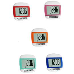 contador de tiempo Rebajas Venta caliente 3 en 1 Mini Impermeable Movimiento Calorías Contador Digital LCD Podómetro Deportes Caminar Ejercicio Cálculo de Distancia