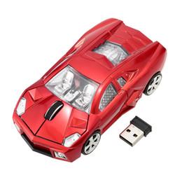 Carro em forma de mouse óptico sem fio on-line-Atacado-2.4GHz Car Mouse sem fio Car Racing em forma de mouse óptico USB / Ratos 3D 3Buttons 1000 DPI / CPI Mause sem fio para PC Desktop Laptop